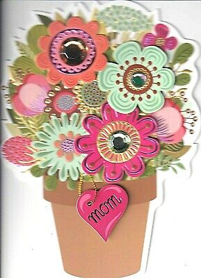 Papyrus  Mothers Day card  Clay Flowerpot Pot 3D flowers - large GEMS - TAG
