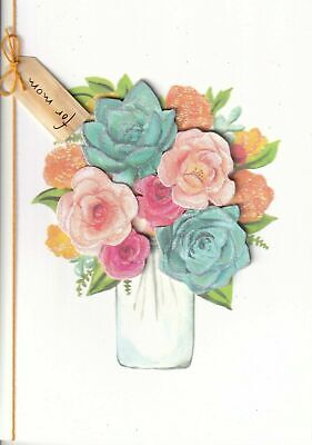 Papyrus  Mothers Day card  - Bouquet of Roses in Ball Jar with Orange thread