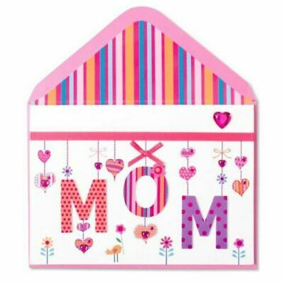 Fun Papyrus Mothers Day card - Mom Hanging Letters in 3D with ribbon - Gems