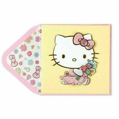 Papyrus  Hello Kitty  Mothers Day card   Hello Kitty with a Bouquet of Flowers