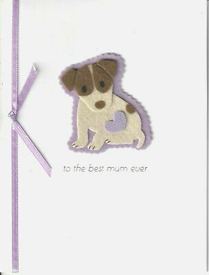 Papyrus Happy Mothers Day card - Felt Puppy w Lavender - to the best mom ever