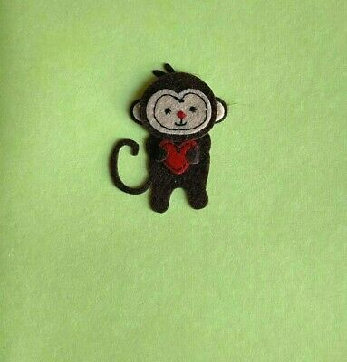 Papyrus Mothers Day card - Little Felt Monkey with Tiny Red Heart - Embroidery