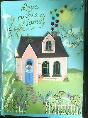 Papyrus  Mothers Day card- Love Makes a Family - House with Heart Gem Smoke