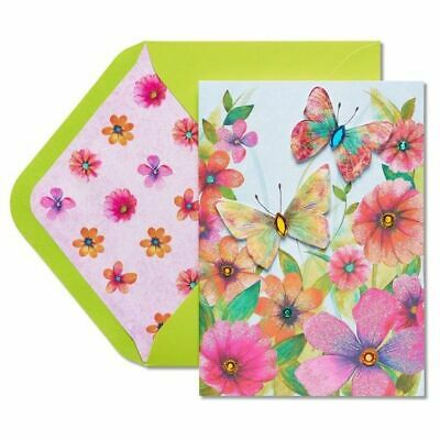 Lovely Papyrus Mothers Day card  Watercolor Butterflies with Rhinestones Floral