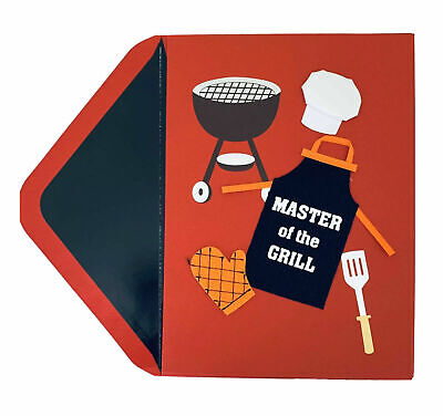 Papyrus Fathers Day card - MASTER OF THE GRILL - with cloth apron hat - mitt