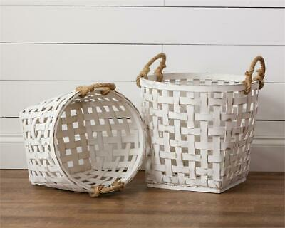 New Shabby Chic Rustic Southern Farmhouse 2 WHITE TOBACCO BASKET Rope Handles
