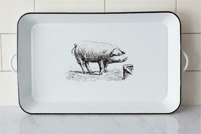 New Farmhouse Chic Shabby Country WHITE ENAMEL BLACK PIG TRAY With Handles