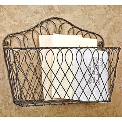 New Primitive French Country Farmhouse Chic WIRE WALL BASKET Mail Bin Organizer