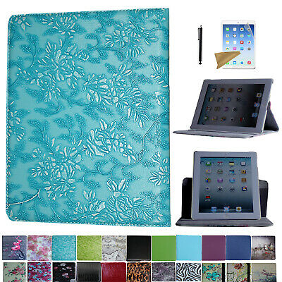 For iPad 3 2012 A1403 A1416 A1430 Rotating Case Cover With Screen Protector Pen