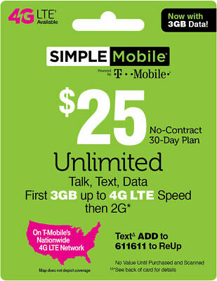 SIMPLE MOBILE Prepaid 25 Refill Top-Up Prepaid Card PIN  RECHARGE