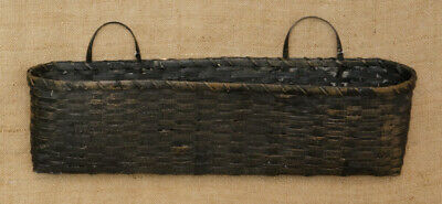 New Country Primitive Rustic Long Wall Basket Mail Holder Distressed Black 22