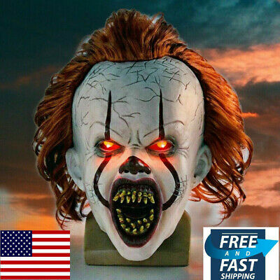 LED Pennywise Mask Stephen Kings It Chapter Two 2 Cosplay Scary Joker Prop New