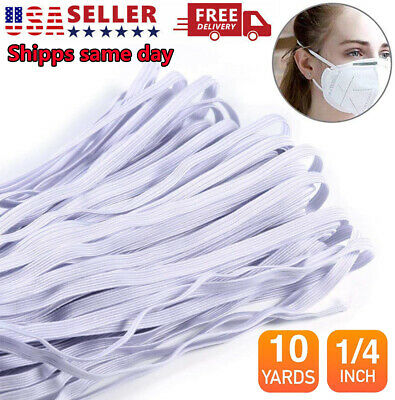14 Inch 6mm in Black - White Flat Elastic Band For DIY Face Mask 10 Yards 10M