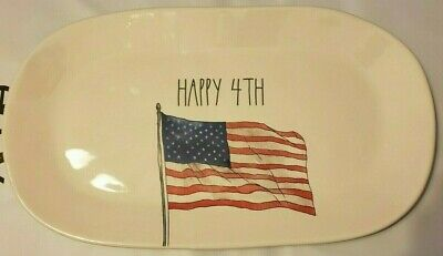 Rae Dunn Fourth 4th of July Oval Tray Flag Patriotic Americana Independence Day