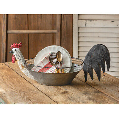 New Primitive French Country Farmhouse Rustic ROOSTER BOWL Metal Chicken Basket