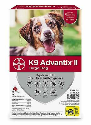 K9 Advantix II for Large Dogs 21-55 lbs - 6 Pack - NEW