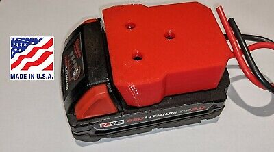 Milwaukee M18 Battery Adapter Holder Dock with Wires for Power Wheels Upgrade