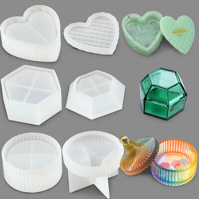 3-Shape Container with Lid DIY Reusable Silicone Epoxy Resin Casting Mold Set