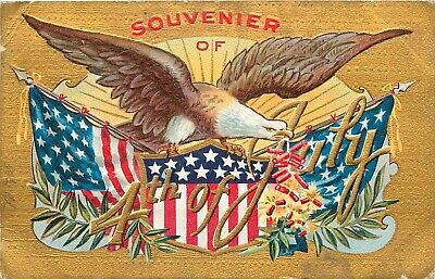 Embossed Fourth of July Postcard Ser- 3 Flying Eagle Federal Shield - Flags
