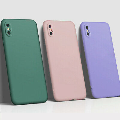 For iPhone X XR XS Max Liquid Silicone Gel Rubber Shockproof Slim Case Cover