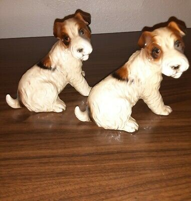 Preowned Vintage Wire Fox Ceramic Dogs