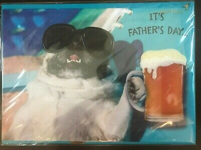 PAPYRUS Fathers Day Card  Bulldog with Aviator Glasses - Beer Lap Up Downtime