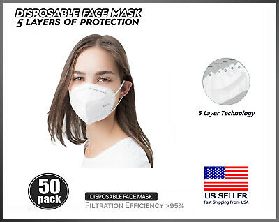 50 PACK KN95 Protective 5 Layer Face Mask BFE 95 PM2-5 Disposable Respirator