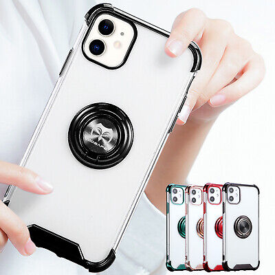 For iPhone 11 Pro Max SE 2020 7 8 Plus Clear Ring Holder Shockproof Case Cover