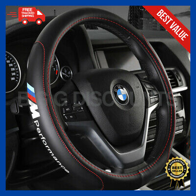 BMW M Series Performance Car LEATHER Grip Black Steering Wheel Cover Protector