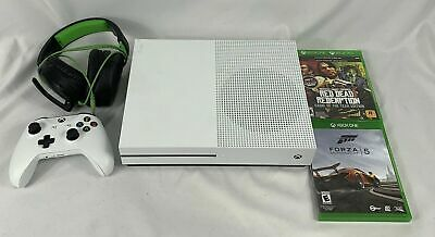 Microsoft Xbox One S 500GB White Console Controller Games - Headset Clean Tested