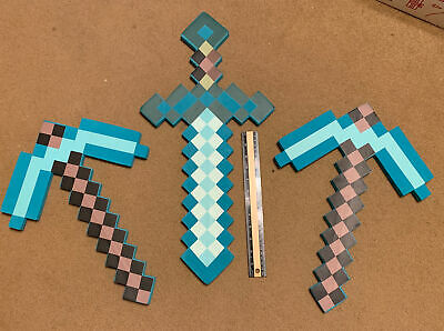 Minecraft foam pickaxes And Sword 3 Pc Lot