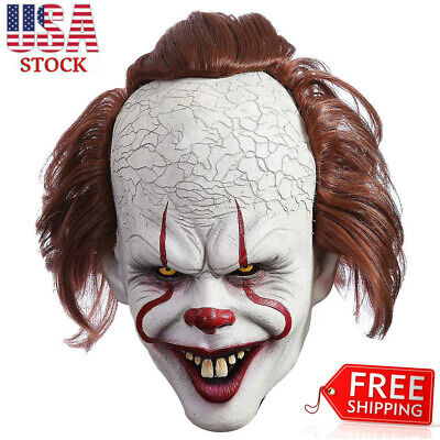 Pennywise Clown Mask Stephen Kings IT Halloween Cosplay Full Mask Costume