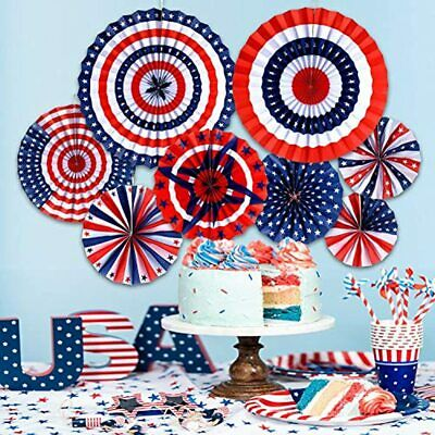 8 Pieces Fourth Of July Patriotic Decorations Red White Blue Hanging Paper Fans