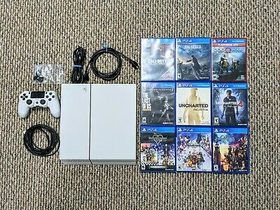 Playstation 4 Console Bundle Glacier White with Controller - 9 Games