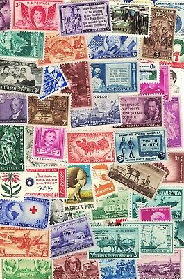 LOT OF 50 VINTAGE ALL DIFFERENT MINT U-S- POSTAGE STAMPS-ALL MINT NEVER HINGED