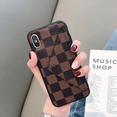 For iPhone 12 11 Pro Max XS XR 78- Slim PU Leather Card Slot Holder Wallet Case