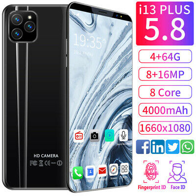 Unlocked i13  Smart Phone 5-8 Android 9-1 HD Full Screen Cellphone Hot