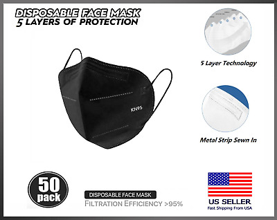 50 PACK Black KN95 5 Layer Protective Face Mask BFE 95 Disposable Respirator