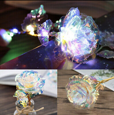 Gold Foil Rose Flower LED Luminous Galaxy Mothers Day Valentines Day Gift USA