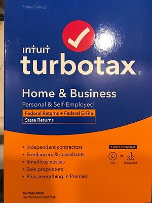 TurboTax 2020 Home - Business Federal and State Returns Disk-  INCLUDES DOWNLOAD