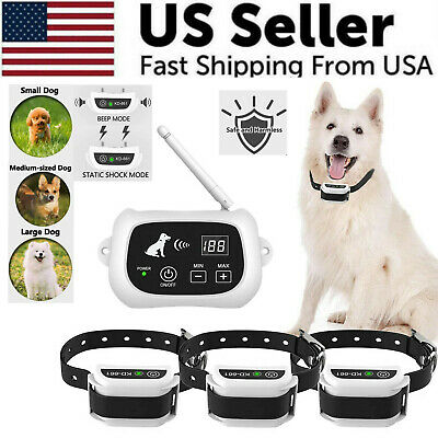 Wireless Dog Fence Pet Containment System Waterproof Training Collars 123 Dogs