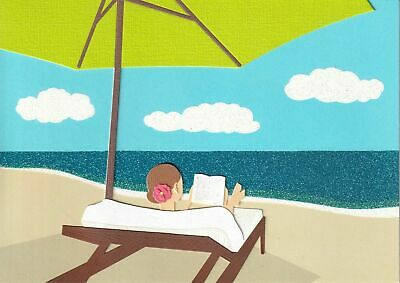 Papyrus Mothers Day card - Reading at the Beach Ocean - Cloth Umbrella Lounge
