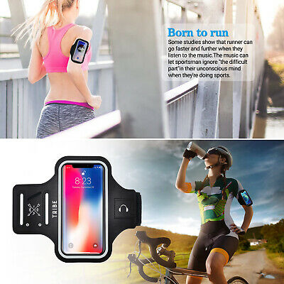 Gym Running Exercise Arm Band Case with Touchscreen Key Slot Reflective Straps