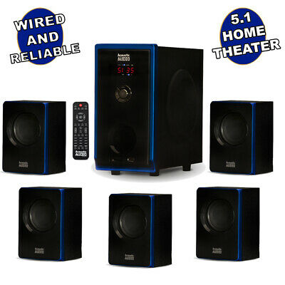 Acoustic Audio 5-1 Bluetooth 6 Speaker System Home Theater Surround Sound NEW