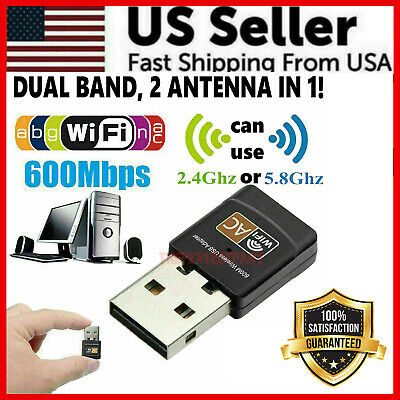 Mini Dual Band 600Mbps USB WiFi Wireless Adapter Network Card 2-45GHz 802-11 AC