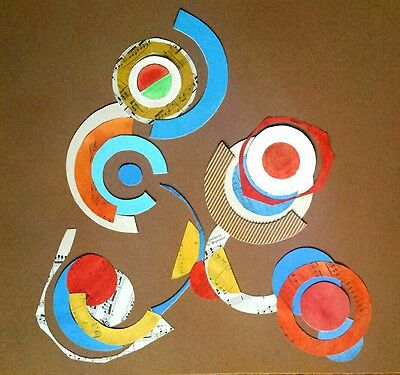 TRES BELLE OEUVRE ABSTRAITE abstract painting french hommage Delaunay