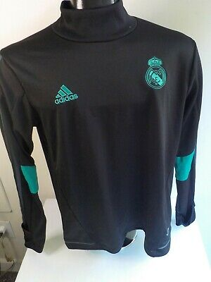 ADIDAS Real Madrid Long Sleeve Soccer Jersey-BlackTurquoise-Polyester-SZ LARGE
