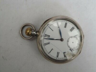 an antique silver -935- cased open face top wind pocket watch -working