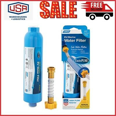 Camco 40043 TastePure RVMarine Water Filter with Flexible Hose Protector Blue