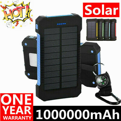 1000000mAh Solar Power Bank Dual USB Battery Waterproof Charger for Cell Phone
